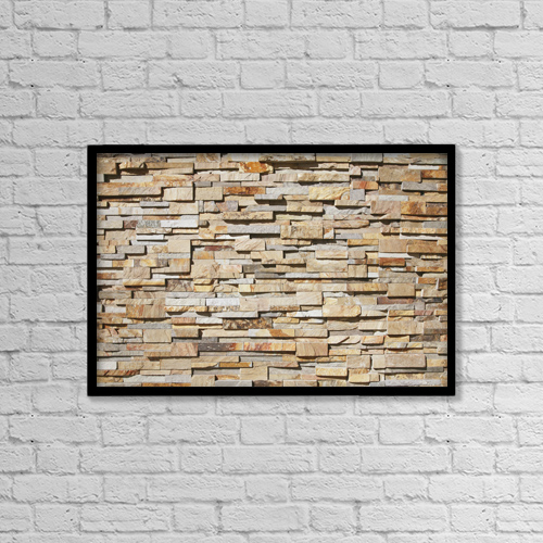 "Printscapes Wall Art: 18"" x 12"" Canvas Print With Black Frame - A contemporary stone wall by Brandon Tabiolo"