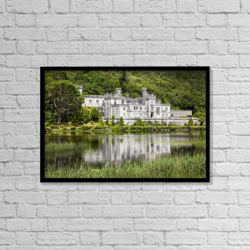 "Printscapes Wall Art: 18"" x 12"" Canvas Print With Black Frame - Kylemore abbey;County galway ireland by Peter Zoeller"