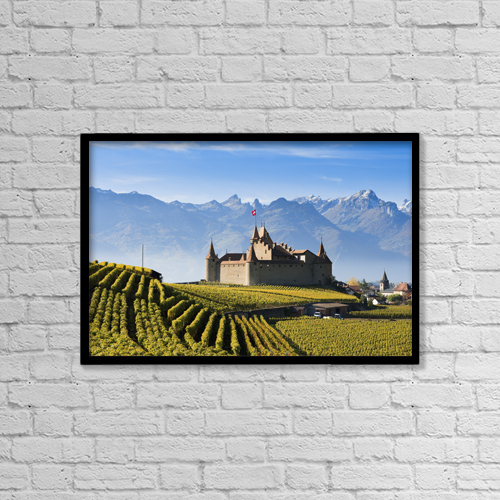 "Printscapes Wall Art: 18"" x 12"" Canvas Print With Black Frame - Switzerland, Vineyards and castle; Aigle by Yves Marcoux"