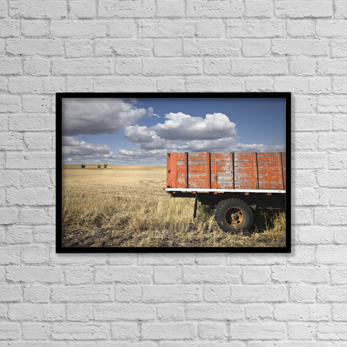 """Printscapes Wall Art: 18"""" x 12"""" Canvas Print With Black Frame - Weather-Beaten Farm Truck In Field by Benjamin Rondel"""