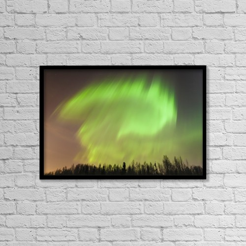 """Printscapes Wall Art: 18"""" x 12"""" Canvas Print With Black Frame - The northern lights above a forest by Kevin G. Smith"""