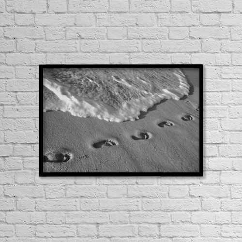 "Printscapes Wall Art: 18"" x 12"" Canvas Print With Black Frame - Footprints In The Sand; Varadero, Cuba by David Chapman"