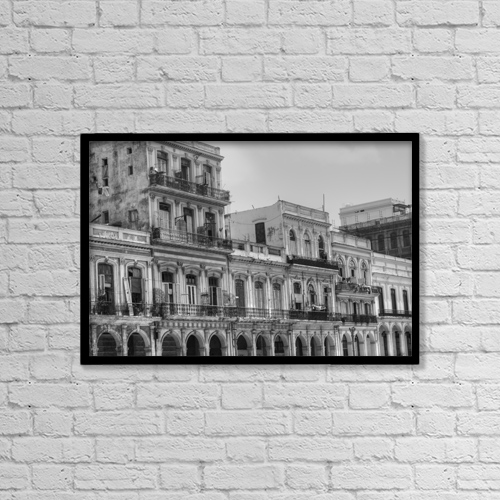 "Printscapes Wall Art: 18"" x 12"" Canvas Print With Black Frame - Building In Old Havana; Havana, Cuba by David Chapman"