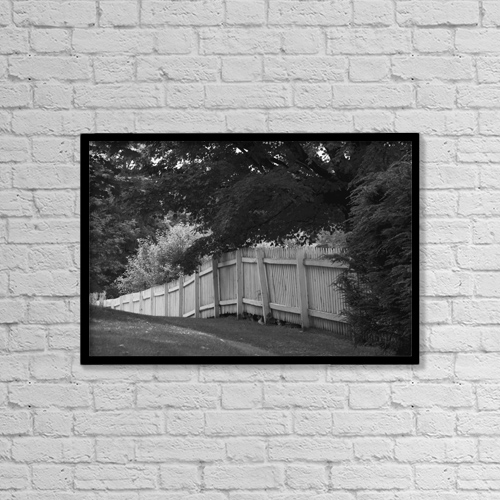 "Printscapes Wall Art: 18"" x 12"" Canvas Print With Black Frame - Picket Fence; Knowlton, Quebec, Canada by David Chapman"