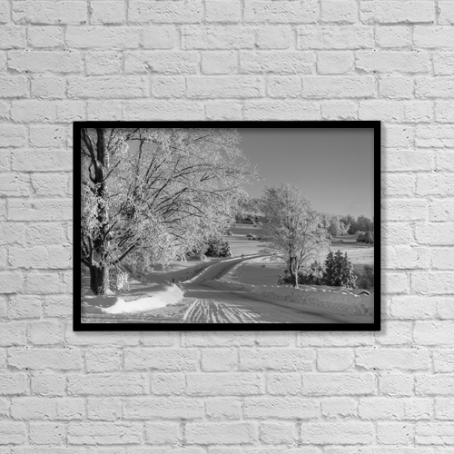 "Printscapes Wall Art: 18"" x 12"" Canvas Print With Black Frame - A Snow Covered Road In Winter by David Chapman"