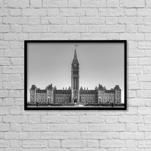 "Printscapes Wall Art: 18"" x 12"" Canvas Print With Black Frame - Parliament Buildings Of Canada by David Chapman"