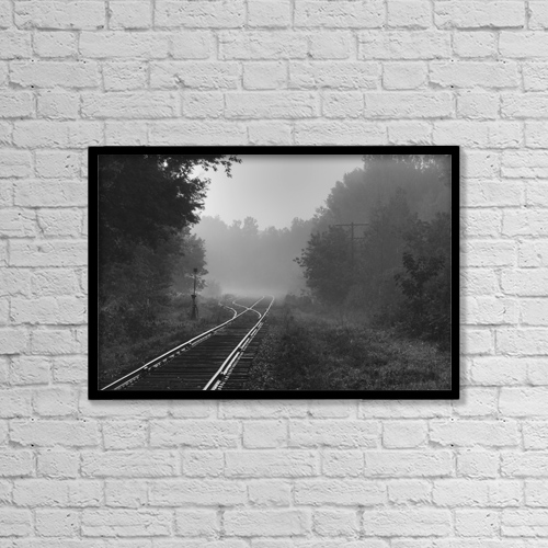 "Printscapes Wall Art: 18"" x 12"" Canvas Print With Black Frame - Railway Tracks In The Early Morning Fog by David Chapman"