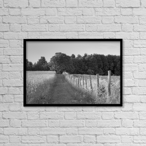 "Printscapes Wall Art: 18"" x 12"" Canvas Print With Black Frame - Wheat Field And Lane Through A Meadow by David Chapman"