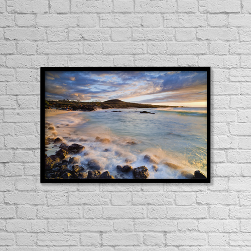 "Printscapes Wall Art: 18"" x 12"" Canvas Print With Black Frame - Kua Bay Beach Park At Sunset by Philip Rosenberg"
