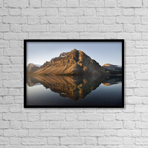 """Printscapes Wall Art: 18"""" x 12"""" Canvas Print With Black Frame - Bow Lake In Banff National Park by Benjamin Rondel"""