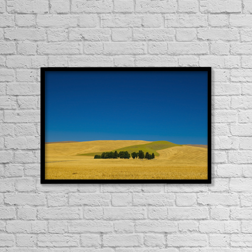 "Printscapes Wall Art: 18"" x 12"" Canvas Print With Black Frame - Cemetery with trees in a wheat field by Richard Desmarais"