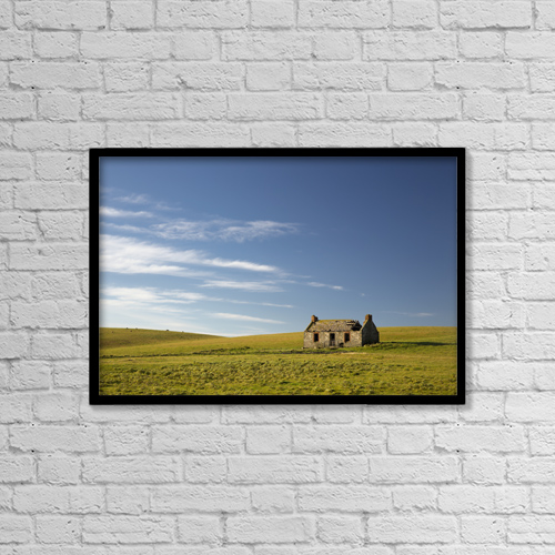 "Printscapes Wall Art: 18"" x 12"" Canvas Print With Black Frame - Farm Structures by John Short"