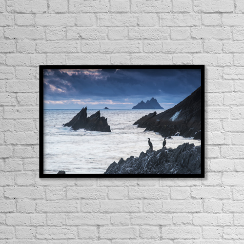 "Printscapes Wall Art: 18"" x 12"" Canvas Print With Black Frame - Cormorants on the rocks by James Sparshatt"