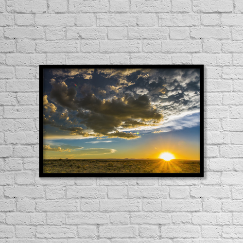 """Printscapes Wall Art: 18"""" x 12"""" Canvas Print With Black Frame - Sunset over rio grande valley by Michael DeYoung"""