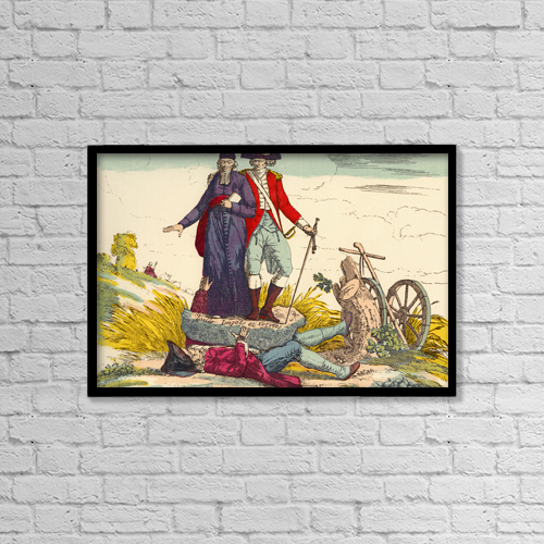 """Printscapes Wall Art: 18"""" x 12"""" Canvas Print With Black Frame - The French Farmer Crushed By Taxes by Ken Welsh"""