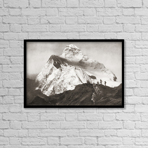 "Printscapes Wall Art: 18"" x 12"" Canvas Print With Black Frame - The Abruzzi Spur On The K2 Mountain by Ken Welsh"