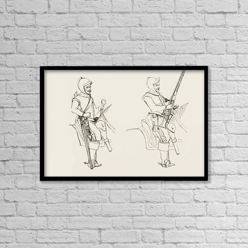 "Printscapes Wall Art: 18"" x 12"" Canvas Print With Black Frame - The Marching Posture Of The Harquebusiers by Ken Welsh"