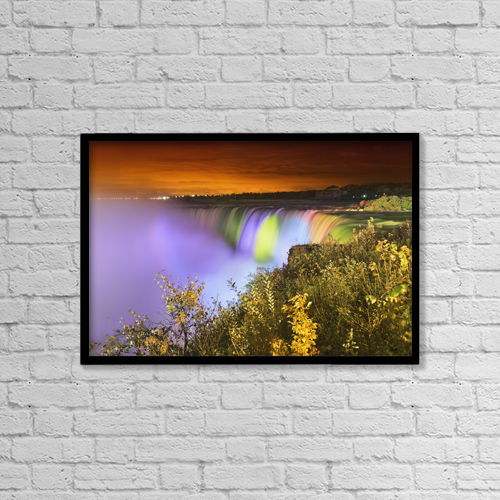 "Printscapes Wall Art: 18"" x 12"" Canvas Print With Black Frame - Horseshoe falls lit up at night by Ken Gillespie"