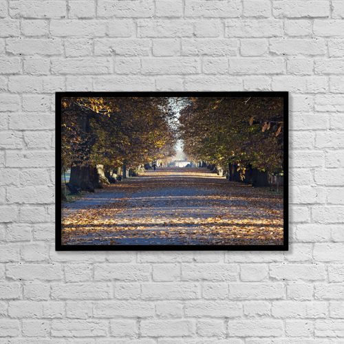 "Printscapes Wall Art: 18"" x 12"" Canvas Print With Black Frame - Autumn Leaves On Path In Greenwich Park by Doug McKinlay"