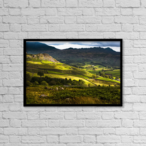"Printscapes Wall Art: 18"" x 12"" Canvas Print With Black Frame - Langdale Hills Of Western Lake District by Doug McKinlay"