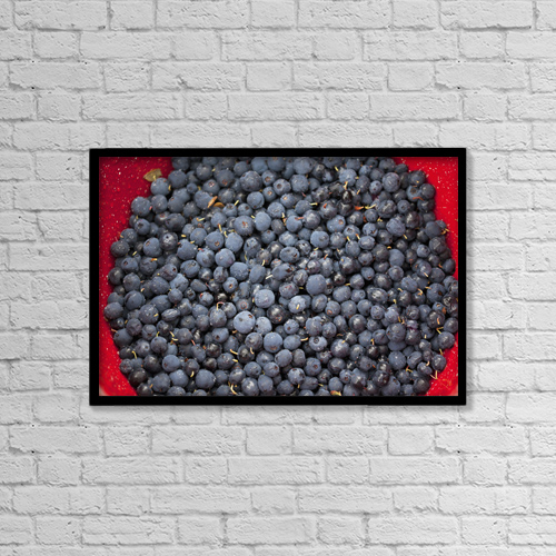 """Printscapes Wall Art: 18"""" x 12"""" Canvas Print With Black Frame - A bowl of blueberries by Glenda Christina"""