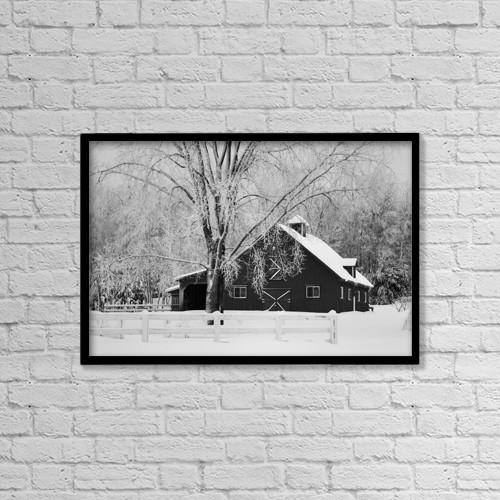 "Printscapes Wall Art: 18"" x 12"" Canvas Print With Black Frame - Canadian Winter On A Farm by David Chapman"