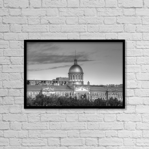 "Printscapes Wall Art: 18"" x 12"" Canvas Print With Black Frame - Bonsecours Market; Montreal, Quebec, Canada by David Chapman"