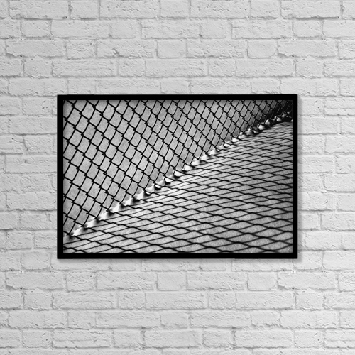 "Printscapes Wall Art: 18"" x 12"" Canvas Print With Black Frame - Chain Link Fence And Shadow On Snow by David Chapman"