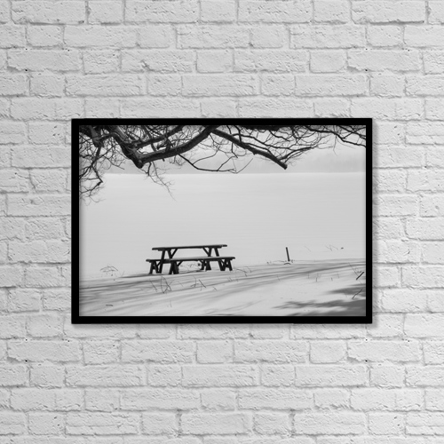 "Printscapes Wall Art: 18"" x 12"" Canvas Print With Black Frame - Picnic Table Beside Frozen Lake by David Chapman"