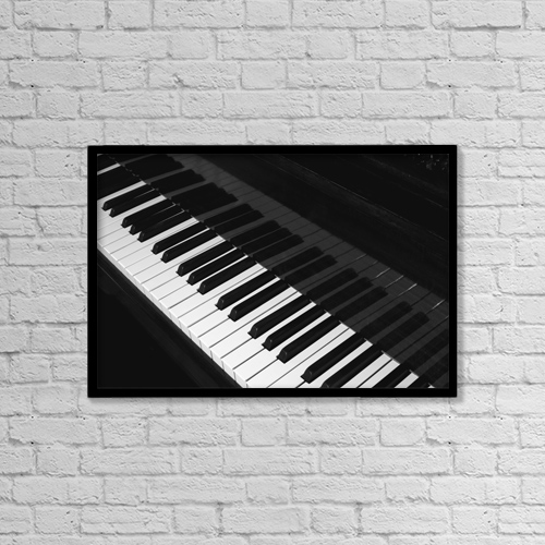 "Printscapes Wall Art: 18"" x 12"" Canvas Print With Black Frame - Piano Keyboard; Waterloo, Quebec, Canada by David Chapman"