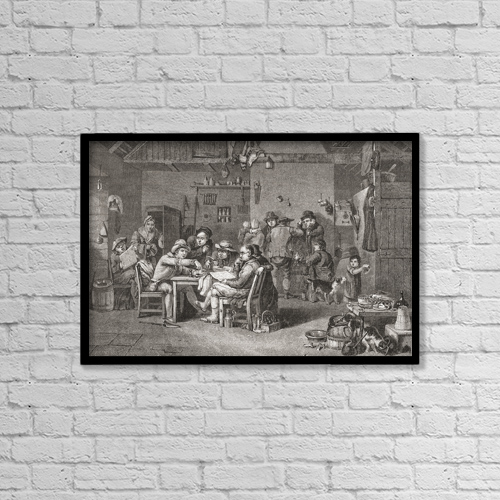 "Printscapes Wall Art: 18"" x 12"" Canvas Print With Black Frame - The Village Politicians After Sir David Wilkie by Ken Welsh"