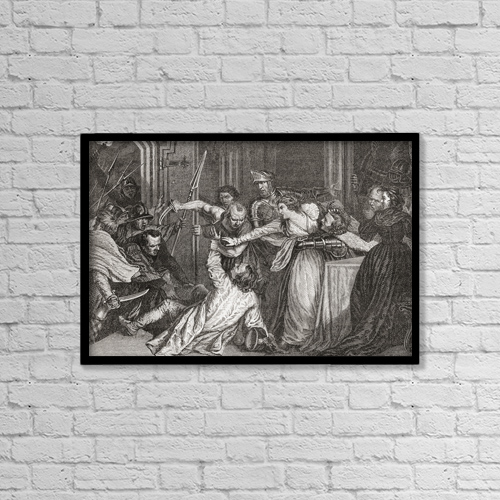 """Printscapes Wall Art: 18"""" x 12"""" Canvas Print With Black Frame - The Murder Of Rizzio By John Opie by Ken Welsh"""