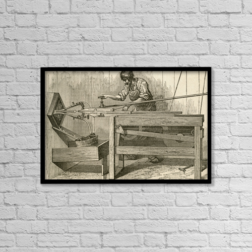 "Printscapes Wall Art: 18"" x 12"" Canvas Print With Black Frame - 19Th Century Machine For Making Files by Ken Welsh"