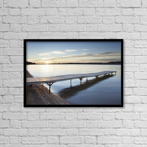 "Printscapes Wall Art: 18"" x 12"" Canvas Print With Black Frame - A dock in lake superior at sunset by Susan Dykstra"