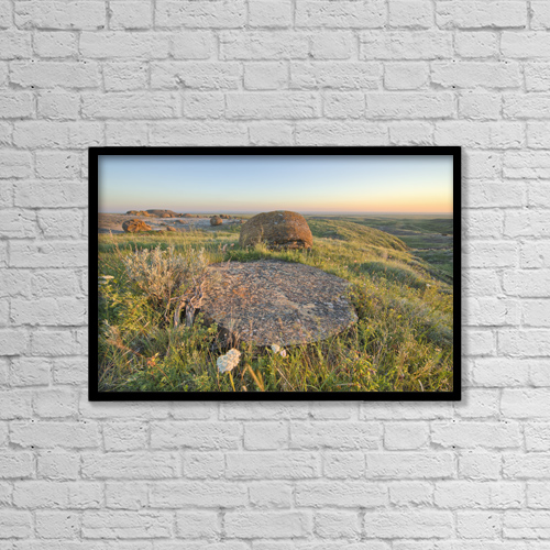 "Printscapes Wall Art: 18"" x 12"" Canvas Print With Black Frame - Sunset Over The Rocks At Red Rock Coulee by Robert Postma"