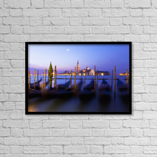 "Printscapes Wall Art: 18"" x 12"" Canvas Print With Black Frame - Venice At Dusk; Venice, Italy by Kav Dadfar"