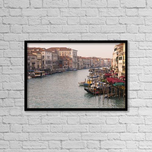 "Printscapes Wall Art: 18"" x 12"" Canvas Print With Black Frame - View Of Grand Canal From Rialto Bridge by Kav Dadfar"