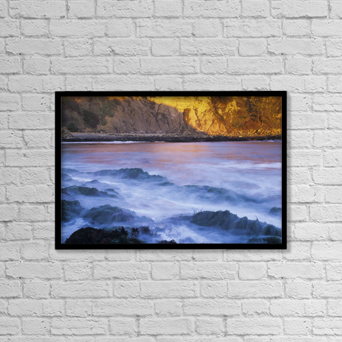 "Printscapes Wall Art: 18"" x 12"" Canvas Print With Black Frame - Surf Breaks At Cape Arago by Robert L. Potts"