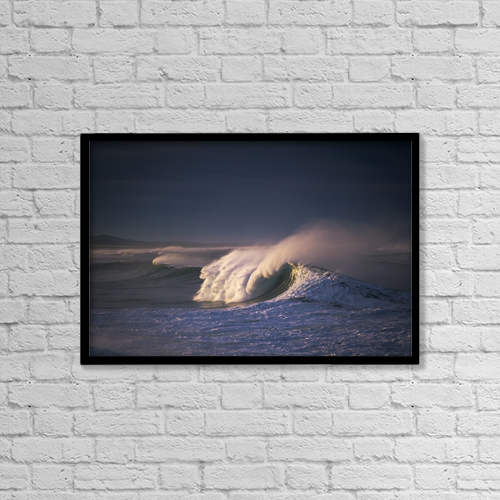 "Printscapes Wall Art: 18"" x 12"" Canvas Print With Black Frame - A Wave Breaks At Ziolkouski Beach by Robert L. Potts"