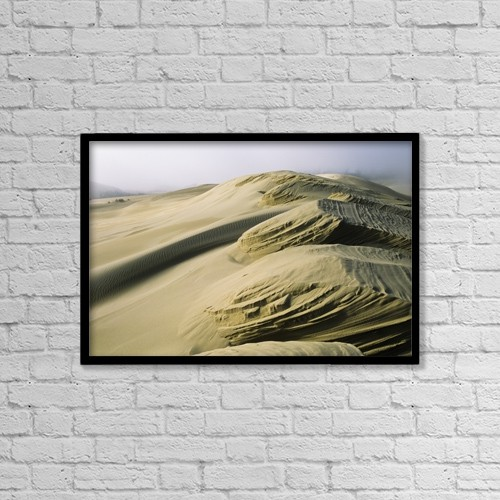 "Printscapes Wall Art: 18"" x 12"" Canvas Print With Black Frame - Sand Patterns Created By The Wind by Robert L. Potts"