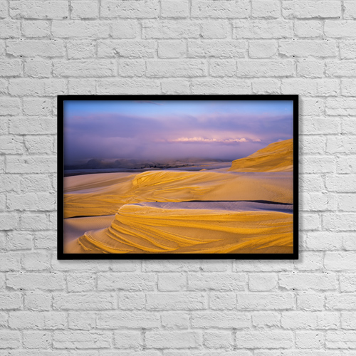"Printscapes Wall Art: 18"" x 12"" Canvas Print With Black Frame - Frost On The Umpqua Dunes by Robert L. Potts"
