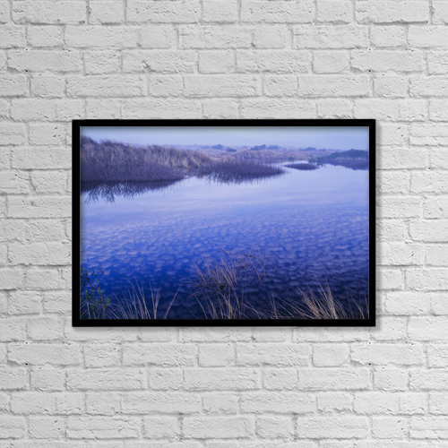 "Printscapes Wall Art: 18"" x 12"" Canvas Print With Black Frame - Clouds Reflected In The Deflection Plain by Robert L. Potts"