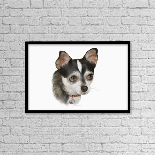 "Printscapes Wall Art: 18"" x 12"" Canvas Print With Black Frame - Computer Generated Portrait Of A Dog by Angela A Stanton"