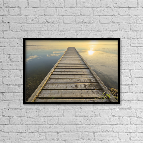 "Printscapes Wall Art: 18"" x 12"" Canvas Print With Black Frame - Wharf, Queen Elizabeth Provincial Park by Robert Postma"