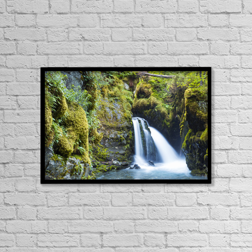 "Printscapes Wall Art: 18"" x 12"" Canvas Print With Black Frame - Virgin Creek Falls by Michael DeYoung"