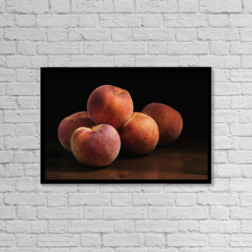 "Printscapes Wall Art: 18"" x 12"" Canvas Print With Black Frame - Peaches Sitting On A Wooden Table by Roderick Chen"