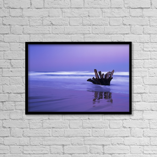 "Printscapes Wall Art: 18"" x 12"" Canvas Print With Black Frame - Waves Break On The Beach At Dawn by Robert L. Potts"