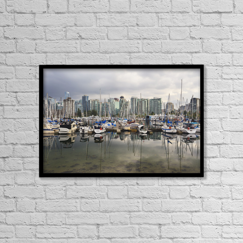 "Printscapes Wall Art: 18"" x 12"" Canvas Print With Black Frame - Sailboats Reflected In Coal Harbour by Ken Gillespie"