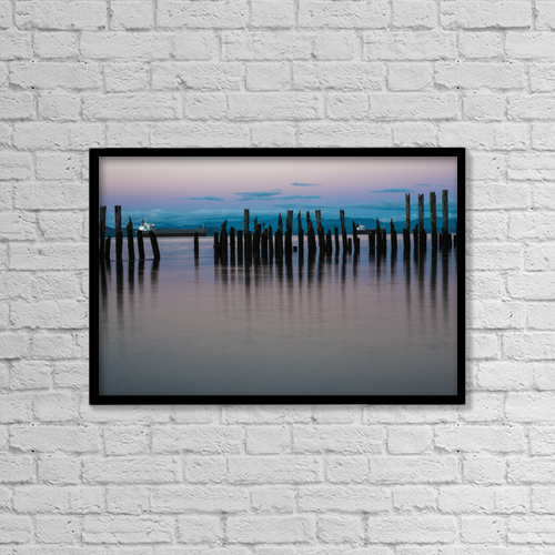"""Printscapes Wall Art: 18"""" x 12"""" Canvas Print With Black Frame - Dusk Settles Over The Columbia River by Robert L. Potts"""