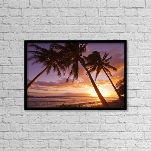 "Printscapes Wall Art: 18"" x 12"" Canvas Print With Black Frame - Palm Trees At Sunset by Ron Dahlquist"